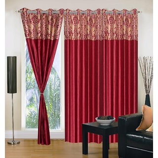 Akash Ganga Polyester Multicolor Eyelet Door Curtains (Set of 3) (7 Feet) CUR3-ST-164-7