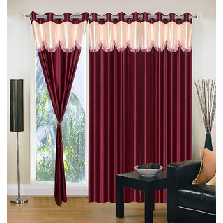 Akash Ganga Polyester Multicolor Eyelet Door Curtains (Set of 3) (7 Feet) CUR3-ST-165-7