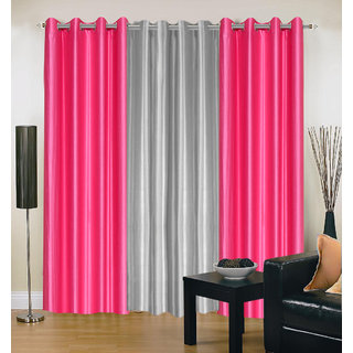 Akash Ganga Polyester Multicolor Eyelet Door Curtains (Set of 3) ( 7 Feet) CUR3-ST-168-7