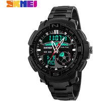 Skmei 1121-Black Dual Time Full Black Steel Watch for Men