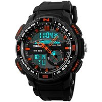 Skmei 1109-Red Black Round Dial Analog-Digital Casual Watch (Imported) - Men