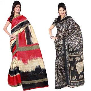 Thankar Combo One Multy Printed Bhagalpuri Saree And Black  White Printed Bhagalpuri Saree