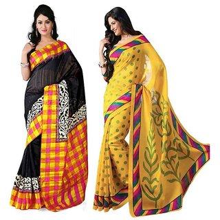 Thankar online trading Yellow Bhagalpuri Silk, Silk Printed Saree With Blouse (Combo)