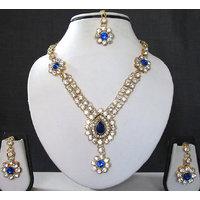 Blue Nice Flower Stone Necklace Set