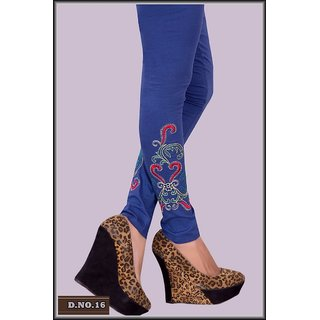 Embroidered Leggings - Blue colour