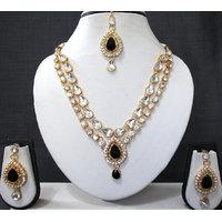 Black 2 Line Tilak Stone Necklace Set