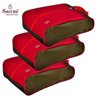 Saccus Green  Red Shoes Bag (Pack of 3)