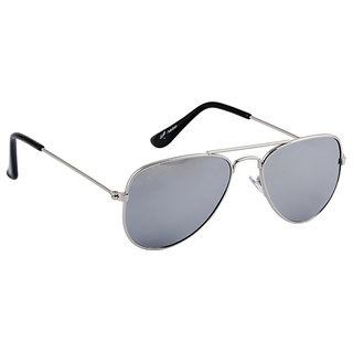 Amaze Aviator for Kids(06-14yrs) Silver Mirrored Plastic Lens Full Silver Metal Frame CE Verified 100 UV Protected Small-50 Aviator Sunglasses