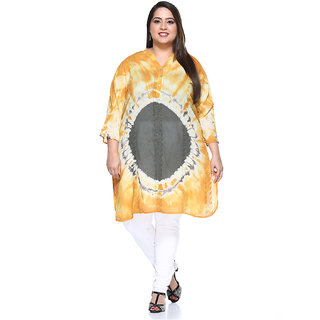 PlusS Yellow Cotton Solid Tunic