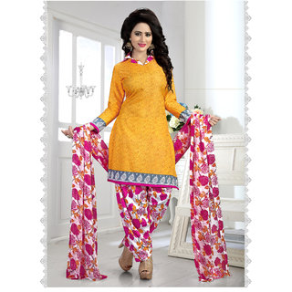Thankar Yellow  Multy Printed Crepe Dress Material