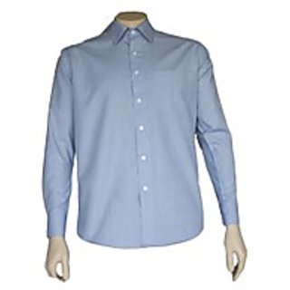 Saffire Blue Colored Cotton Blend Formal Shirt (Option 3)