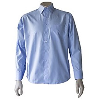 Saffire Blue Colored Cotton Polyester Formal Shirt (Option 4)