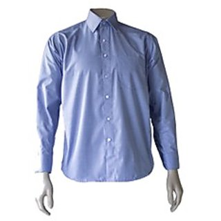 Saffire Blue Colored Cotton Polyester Formal Shirt (Option 5)