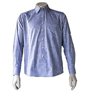 Saffire Blue Colored Linen Formal Shirt (Option 2)