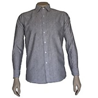 Saffire Grey Colored Cotton Blend Formal Shirt (Option 1)