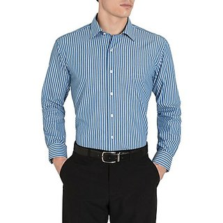 Saffire Blue Colored Cotton Rich Formal Shirt (Option 6)