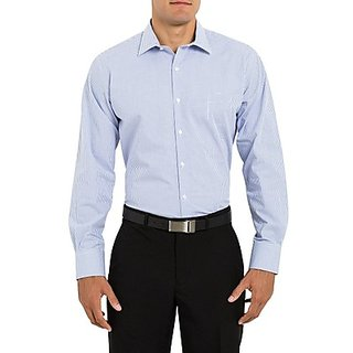 Saffire Blue Colored Cotton Rich Formal Shirt (Option 1)