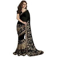 Janasya Blackbrown Printed Georgette Saree With Blouse