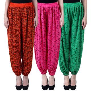 NumBrave Printed Viscose Orange  Pink  Green Harem Pants (Pack of 3)