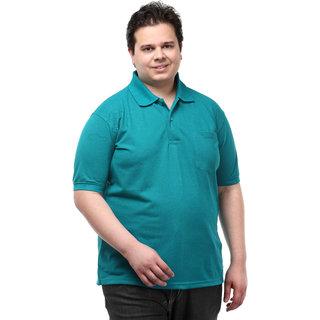 Pluss Polo Neck Green Casual Wear Mens Tshirt