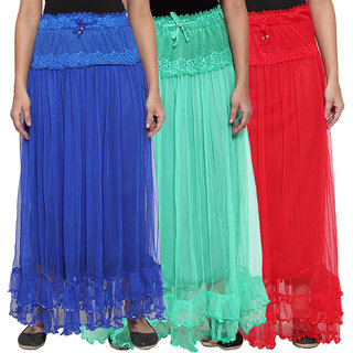 NumBrave Blue  Green  Red Long Flared Skirt (Pack of 3)
