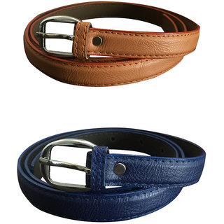 Verceys Tan And Blue Texture Leather Finish Belts For Women - Free Size
