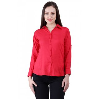 NumBrave Red Rayon Solid Formal Shirt