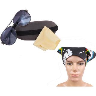 Sun protection Aviator Sunglass For Men With Headwrap-JSMFHGO0523-JSMFHHR0203