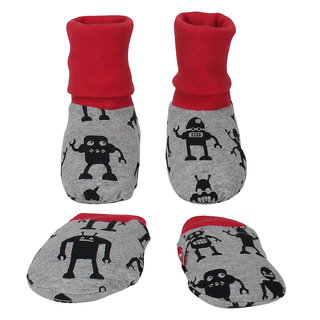 Nino Bambino Grey  100 Organic Cotton Booties And Mitten Set