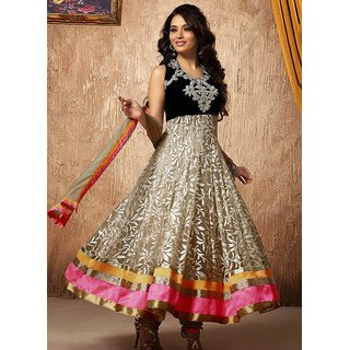 Pulsating Off White Net Lace Work Anarkali Suit