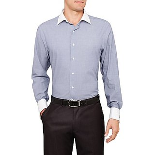 Saffire Blue Colored Cotton Rich Formal Shirt (Option 7)