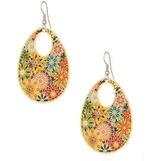 Gold Plated Floral Earrings With Pretty Enamel Work