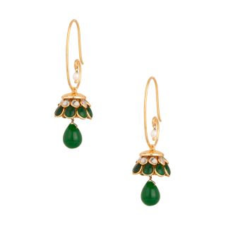 Gold Plated Pretty Green Jhumki Earrings With Pacchi Work