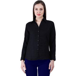 NumBrave Black Rayon Solid Formal Shirt