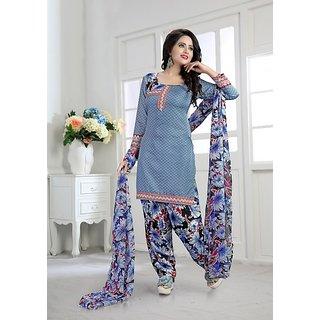 Thankar Light Blue  Multy Printed Crepe Dress Material