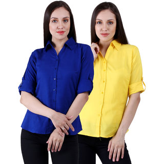 NumBrave Royalblue Yellow Rayon Solid Formal Shirts (Combo)