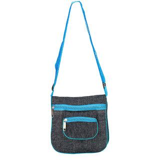 Glitters  Stylish Front Pocket Black-Blue Sling Bag (Front PocketC1-6)