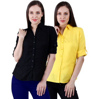 NumBrave Black Yellow Rayon Solid Formal Shirts (Combo)