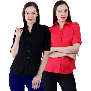 NumBrave Black Red Rayon Solid Formal Shirts (Combo)