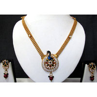 Golden Maroon Drop Peacock Pendant Necklace Set