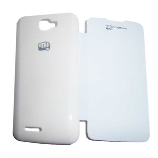White Leather Flip  Book Cover Case for Micromax A94 Canvas Mad