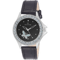 Swisstone VOGLR501-BLACK Black Dial Black Strap Analog Wrist Watch For Women/Girls