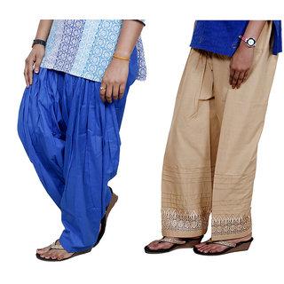 Indiweaves Women Cotton Semi-Patiala With Full Patiala Salwar Set Of-2  7130427-Iw