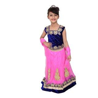 Lehenga Choli Dress for girls Kids - Pink Blue - Velvet Net - Embroidered - Partywear - Readymade - 3 - 7 Years