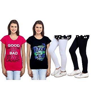 Indiweaves Cotton Girls T-Shirt  Girls Legging Set Of - 4  31006097140305-Iw