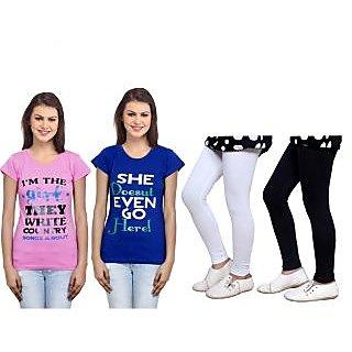 Indiweaves Cotton Girls T-Shirt  Girls Legging Set Of - 4  31007117140305-Iw