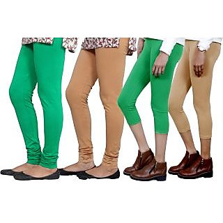Indiweaves Women Cotton Bio-Wash Legging With Women Cotton Capri Set Of - 4  71028347180107-Iw-L