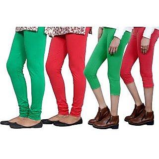 Indiweaves Women Cotton Bio-Wash Legging With Women Cotton Capri Set Of - 4  71028357180114-Iw-Xxl
