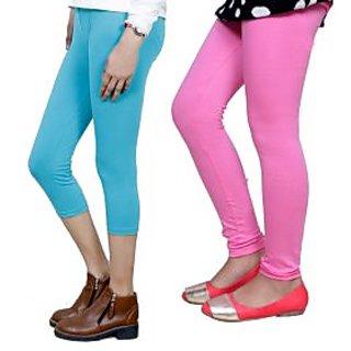 Indiweaves Girls Cotton Legging With Cotton Capri Set Of-2  7180371408-Iw