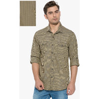 Mufti Mens Khaki Slim Fit Casual Shirts